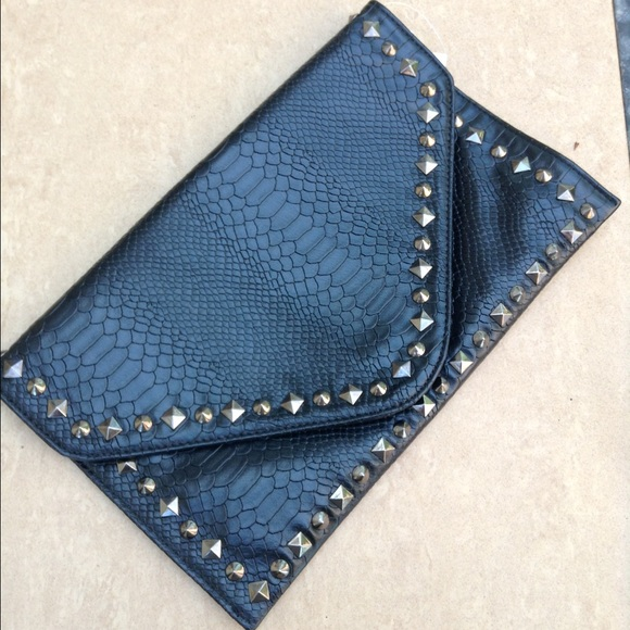 Handbags - Black Snakeskin Spike Oversized Clutch Bag