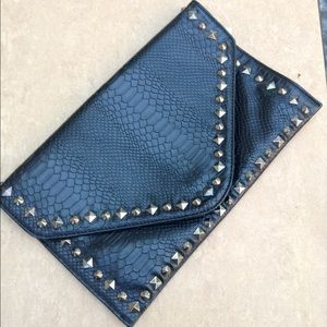 Black Snakeskin Spike Oversized Clutch Bag