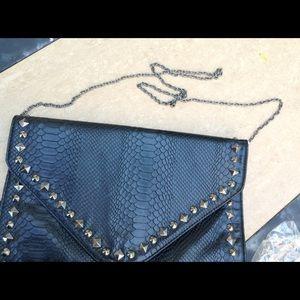 Bags - Black Snakeskin Spike Oversized Clutch Bag