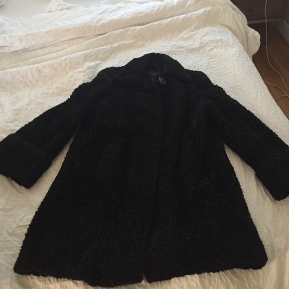 384a36f3a2164 Vintage Persian lamb coat black pin up plus