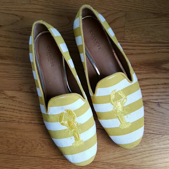 25552413a2b Coach Shoes - Coach Utopia Flats Yellow White Stripe Lobster