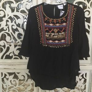 Anthropologie HD in Paris Embellished Blouse. 0P