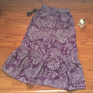 Plum and white batik maxi skirt