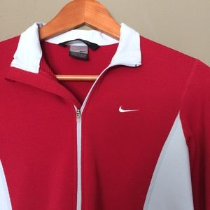 Nike Tops - Nike Sphere Red & Pastel Blue Half Zip Jacket
