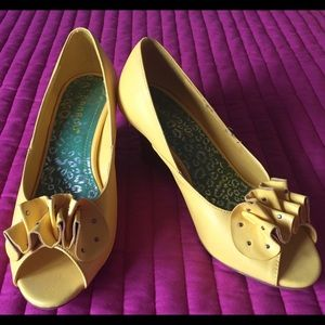 Bamboo Shoes - Yellow Peep Toe Wedges