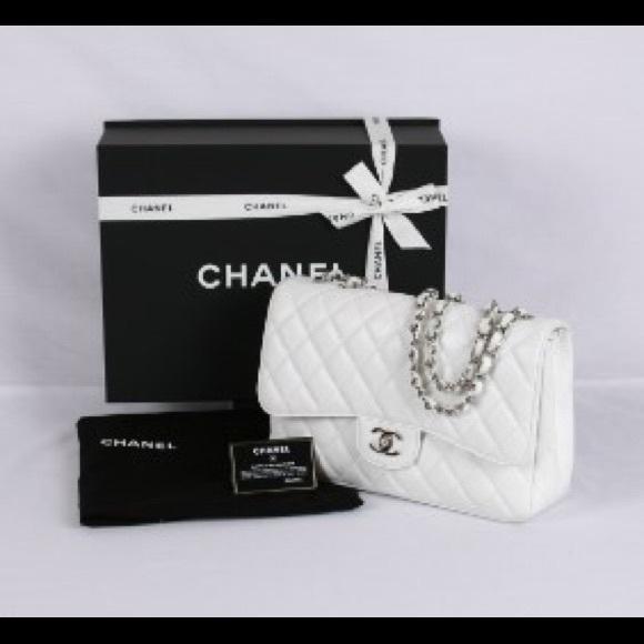5f6a8de8e06f9b CHANEL Handbags - Chanel classic jumbo caviar white