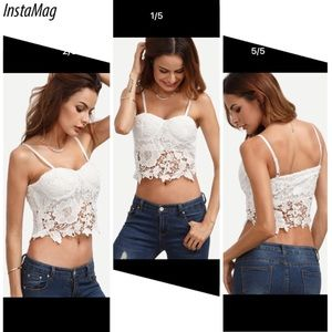 Tops - White floral crochet lace top