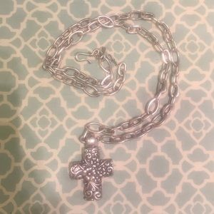 Costume jewelry silver cross and chain