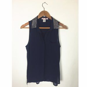 Katie K Tops - Blue Button Top w/ Studded Collar