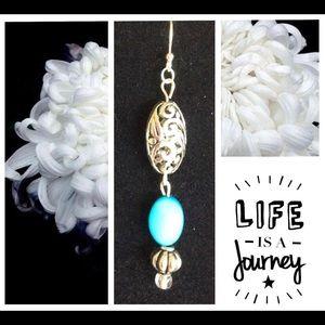 Jewelry - Silver & Aqua Earrings💠 Hand made in 🇺🇸