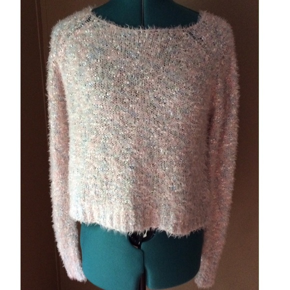 Decree Sweaters Pastel Cropped Shimmer Sweater Poshmark
