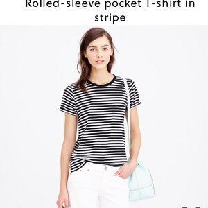 J. Crew Tops - J. Crew rolled sleeve pocket tee in stripe pink