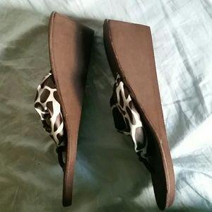 9383da0cc ESNY Shoes - Wedge flip flops with silk strap