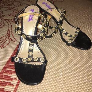 Hale Bob Shoes - Hale Bob black gold Crystal strappy sandals NEW