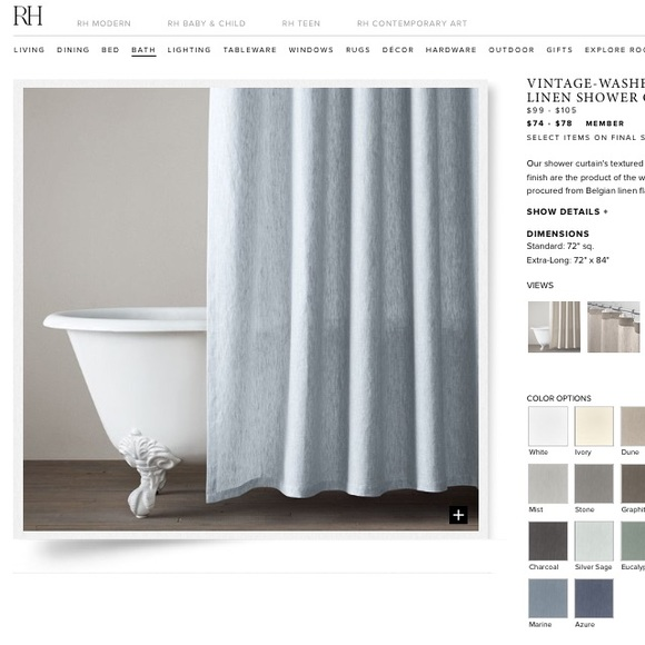 Restoration Hardware Belgian Linen Shower Curtain M 5782d3dc4e95a3278b011005