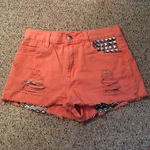 Forever21 Coral, Aztec, Studded High Waisted Short