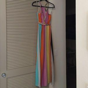 Charlie Jade braided strap rainbow maxi dress