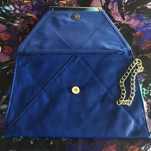 Forever 21 Bags - Forever 21 Cobalt Blue Large Clutch with chain