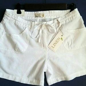Basix of America  Pants - Basix of America Cotton/Linen Shorts. White. L NWT