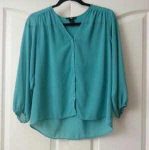 H&M mint green sheer 3/4 sleeve top