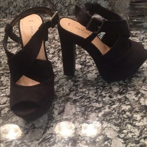7a3b41c99a7 New Look Shoes - New Look Black Suede Chunky Platform Heels