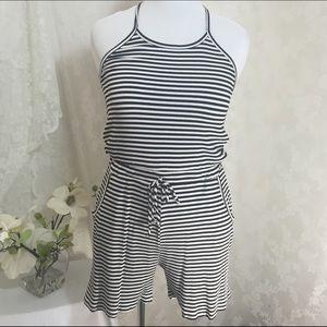 Libian Pants - Stylish white and black striped romper. B009 Sale✨