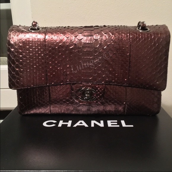 ef44f0d4ee33 CHANEL Bags | Auth Python Metallic Bronze Medium Flap | Poshmark