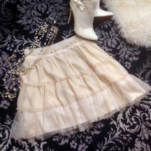 Cream tulle tiered petticoat skirt