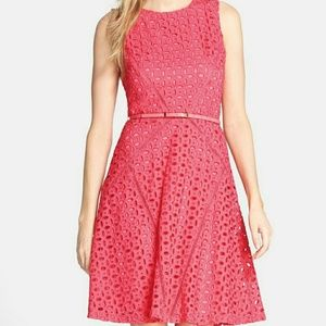 Ellen Tracy Belted Cotton Eyelet Fit & Flare Dress