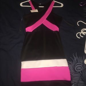 BMWT! Hot pink, white, and black dress with mesh