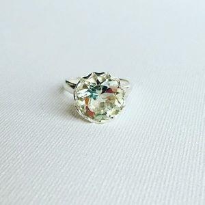 Rare Green Amethyst Sterling Silver Ring