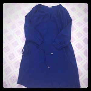 Joie geometric blue print silk dress.