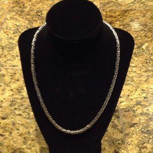 "Square Byzantine Sterling Silver 20"" Necklace"