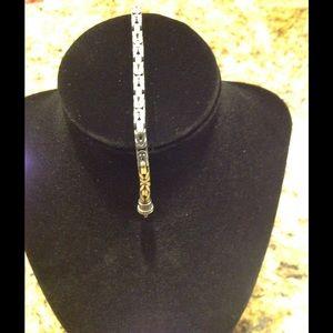 """Square Byzantine Sterling Silver 7"""" Bracelet"""