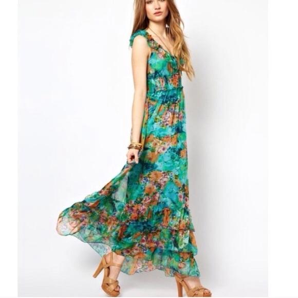 6bfecc70f512 Beautiful turquoise floral ruffle midi maxi dress