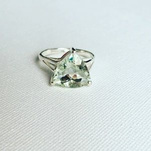 Trillion Cut Green Amethyst Sterling Silver Ring