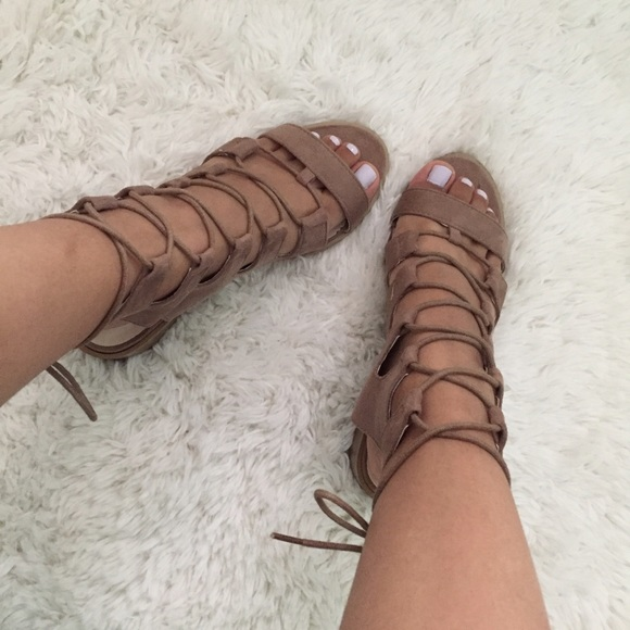 Shoes | Taupe Lace Up Heeled Sandals