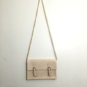 Minimal Beige Crossbody Shoulder Bag With Straps