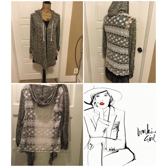 Boutique Sweaters - Marbled Lace Back Hoodie