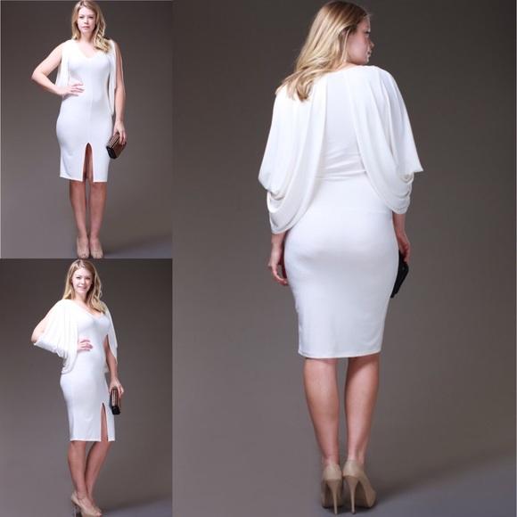 NWT white knee length plus size dress 💋💋💋 Boutique