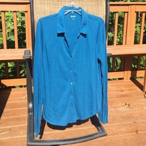 Three Dots Tops - Cerulean blue cotton knit button down by 3 dots