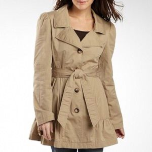 Cute Trench Coat with Ruffled Flare
