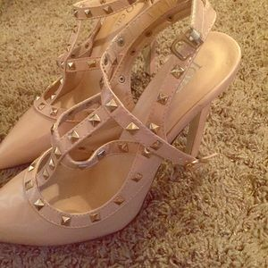 Jo-Jo Shoes - Studded nude heels