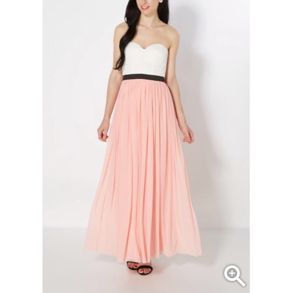 Lace bustier strapless maxi dress