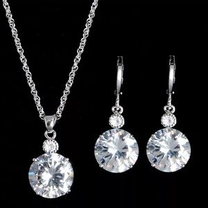 New 18k White Gold Filled Earrings & Necklace