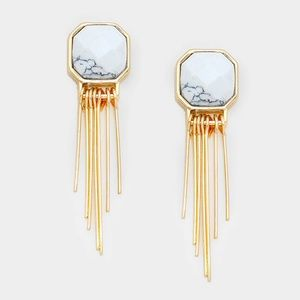 Natural stone & metal fringe earrings