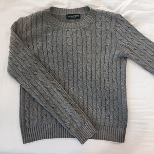 American Apparel Grey Cable Knit Pullover Sweater