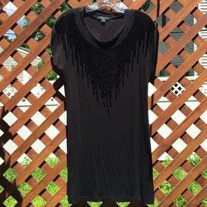 Black Sequin Detailed Long T-Shirt
