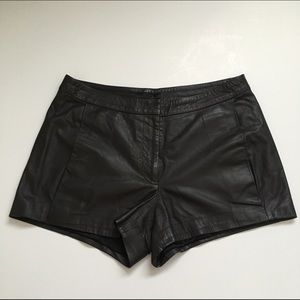 The Row Pants - The Row Black Lamb Leather Shorts