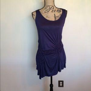 Olivia Moon Tops - Navy Blue knit hi low asymmetrical top w/ trim